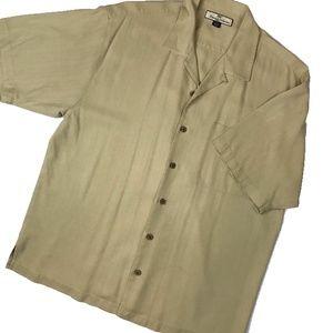 Tommy Bahama Khaki Cream Tan Silk Casual Shirt